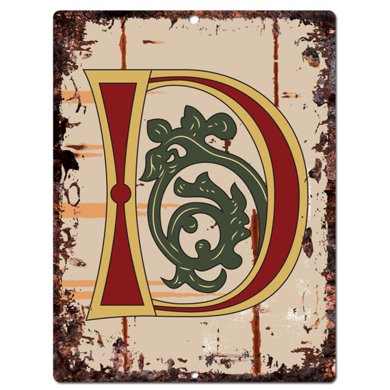 Pp0512 Alphabet Medieval Initial Name Letter D Plate By