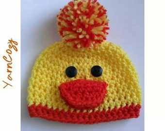 Baby Duck Hat, Newborn Duck Hat, Crochet Duck Hat