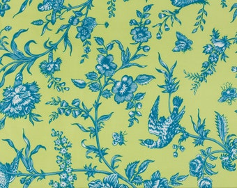 Jennifer Paganelli Sis Boom OOP Fabric for Free Spirit  -  Girlfriends  -  Floral Vine Toile D1347-237 in Lime/Blue  -  One Yard