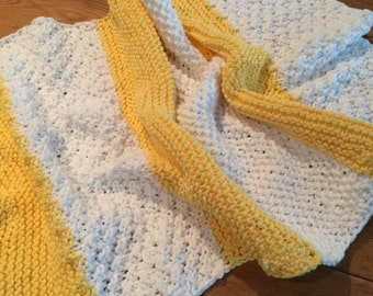 Kitchen Towel - Bath Towel - 100% Cotton Yarn Hand Knitted Dish Towel - Kitchen Cloth in Bright Yellow Stripe Knit
