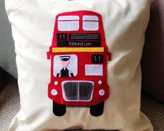 London bus cushion - can be personalised