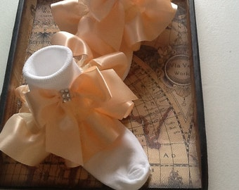 Girls peach organza and satin ruffle socks