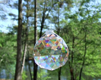 1 Asfour 20mm Full Lead Faceted Crystal Prism Ball, Sun Catcher, Feng Shui Crystal Prism,Wedding Decoration, crystal ornament