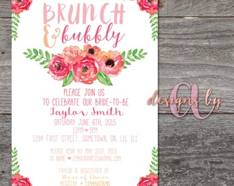 Watercolour Floral Bridal Shower Invitation