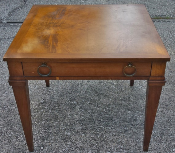 Vintage Baker Furniture Walnut Square End Side Table With