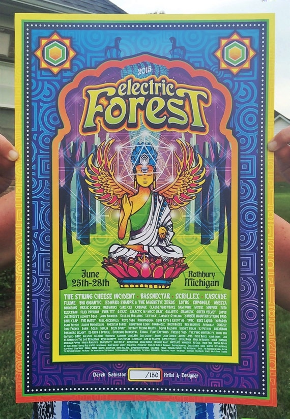 Electric Forest 2015 Poster Print String Cheese Incident Bassnectar Skrillex Flume Rothbury Art