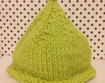 Handknit green pixie baby hat - Size 0-3 months