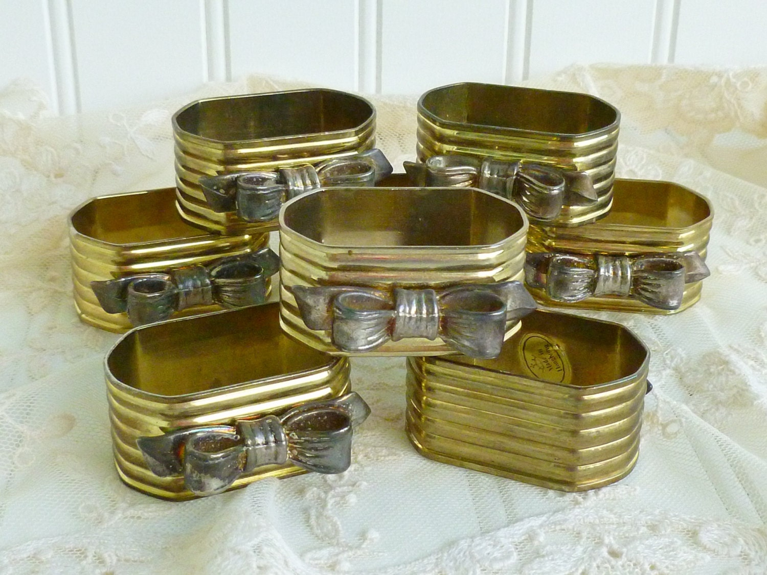 vintage gold and silver napkin rings set of 8 silver bows