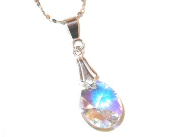 12mm Mini-Pear CLEAR AB Crystal Pendant Drop Sterling Silver Swarovski Element