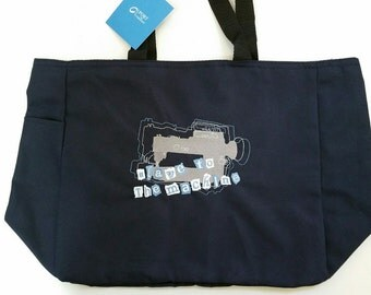 """Tote Bag Embroidered """"Slave to the Machine"""""""