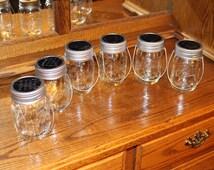 Set of 6 Hanging Clear Pint Size Mason Jar Solar Lid Light - Color Changing LED  - Lid Light Changes Color