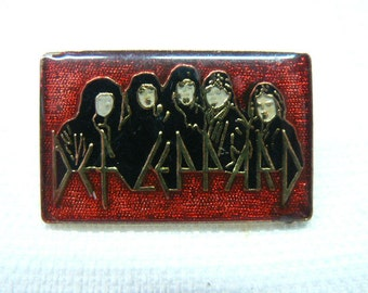 Vintage Early 1980s Def Leppard Band Enamel Pin / Button / Badge