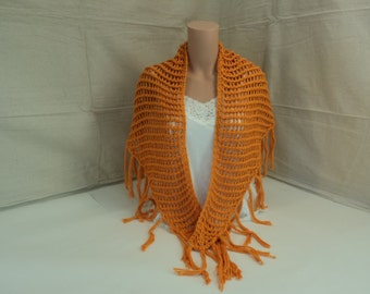 Handcrafted Wrap Shawl Orange Lace Organic Cotton Female Adult