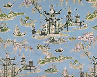 Peaceful Temple Asian Drapery Fabric - Fabric By The Yard