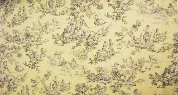 Light Cream And Grey Toile Fabric Home Decor Fabric