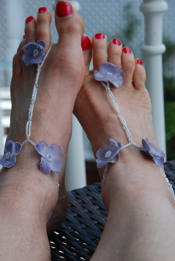 Lavender beaded barefoot sandals; beach barefoot sandals;beach wedding sandals;bridesmaid beach sandals