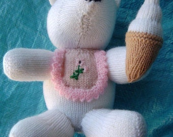 HAND KNITTED Hand Crafted Polar Bear Toy With Icecream Pink Bib