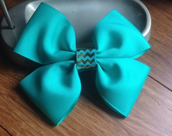 Fancy Teal And Gold Chevron Hair Bow. 5 inches.  16