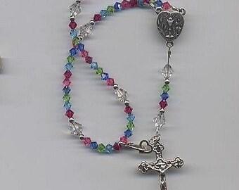 First Communion Crystal Rosary Bracelet