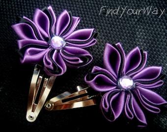 Two 21 Petal Japanese Hana Kanzashi Hair Clips or Pins