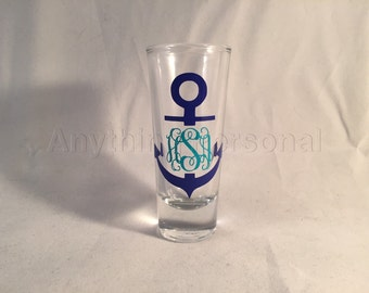Anchor Monogram Shot Glass, Personalized Shot Glass, Beach Shot Glass, Bridal Party Gift, Shot Glass, Monogram Gift, GNO, Bridesmaid Gift