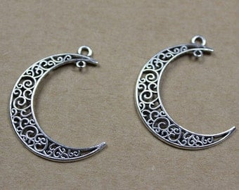10 Antique Silver Moon Pendant Supply,Necklace Earring Crafting Component Wholesale, 33x40mm