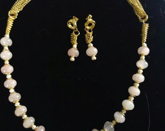 Rose and Gold Necklace and Earring set