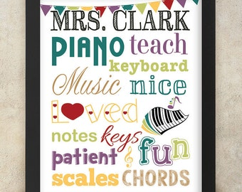 Piano Teacher Gift Personalized Art with Name - 8x10 digital print - Teacher Appreciation
