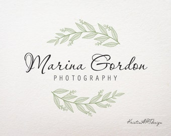Leaves logo, Olive leaves logo design, Photography logo, Premede logo, Rustic logo, Watermark 303