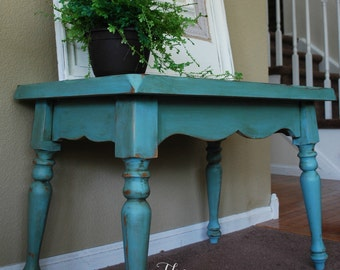 SOLD-SAMPLE ONLY Aqua-Teal-Turquise Painted Bench