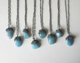 Aquamarine and pyrite pendants on adjustable gunmetal chain