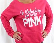 """One """"On Wednesdays We Wear Pink"""" Mean Girls Eco-Fleece Sweatshirt. Off Shoulder Sweatshirt. Raw-Edge Off-Shoulder. Christmas Gift."""