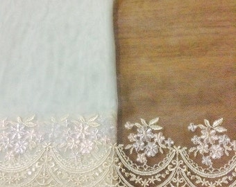 1m Light blue or pink floral embroidered mesh tulle lace trim scalloped 16-20cm wide