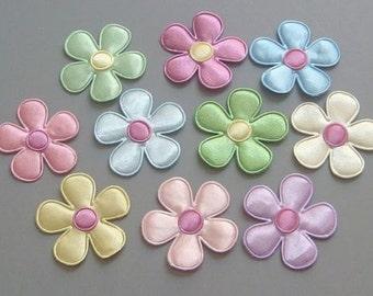 """50 Satin Flower Appliques 1 3/8"""" Multi-Color A67"""