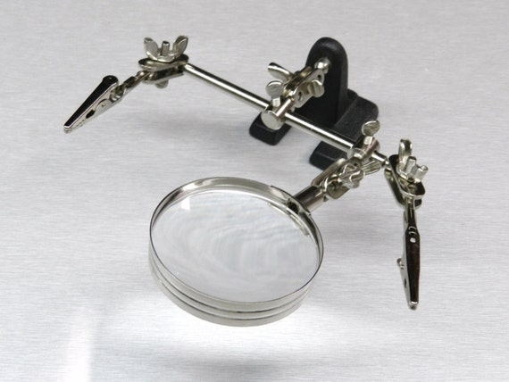helping hand magnifier 4x with 2 alligator clamps ...