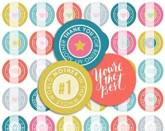 Best Mom Mother's Day Bottle Cap Images - 8.5x11 Digital Collage Sheet (No. 002)- 1 Inch Circles for Bottlecaps, Hair Bow - Instant Download