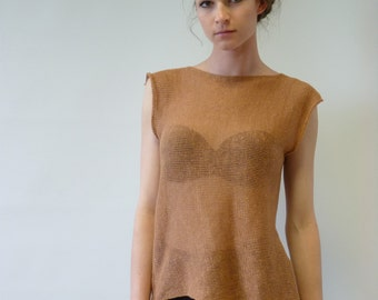 The hot price. Transparent carmel linen top, M size. Handmade, only one sample.