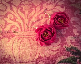 The earrings with little peonies, Flowers peonies, Red peony, Bright peony, Miniature peony