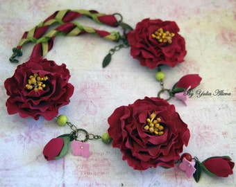 Necklace with red peonies, Jewelery with peonies, Peonies necklace, Flower necklace, Red peony, Large peony