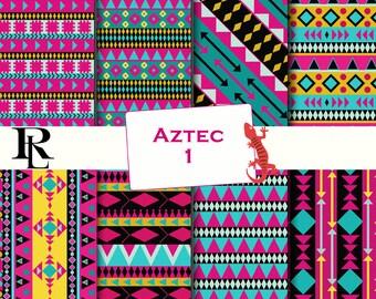 Tribal Digital Paper Pack - Digital Background - Paper background - Aztecl paper pack - tribal paper scrapbooking