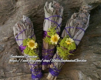 Small White Sage & Lavender Smudge/Wand Spiritual , Aura Healing, Purification, Home, Sacred Space Clearing