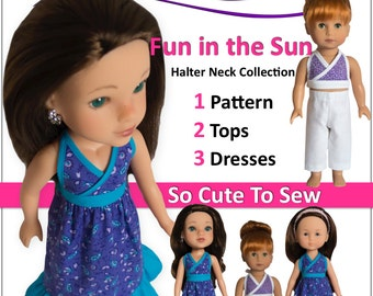Fun in the Sun – Hearts 4 Hearts, Wellie Wishers, Just Like Me, Les Cheries, & Similar Size dolls -  PDF Doll Sewing Pattern