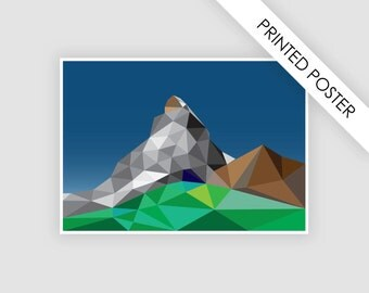 Abstract landscape mountain poster, geometric illustration, A3 print, wall decor art print, digital print, country decor,