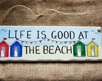 Beach hut seaside beach holiday handmade hand painted wooden plaque/sign
