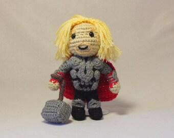 Crochet Thor, Amigurumi Thor with detachable Mjolnir, Chibi Thor and Hammer