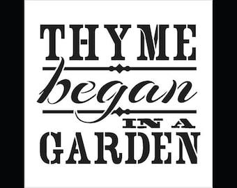 """Thyme Began In A Garden - Word Stencil - Vintage - 7"""" x 7"""""""