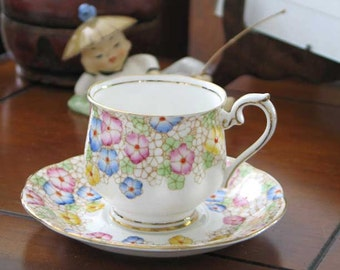 Royal Albert Raised Dot Art Deco Cup and Saucer