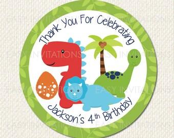 Dinosaur Birthday Stickers 12X 60mm Glossy Printed
