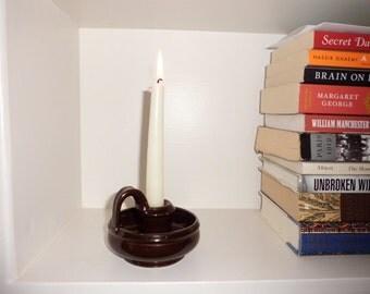 Vintage Brown Ceramic/Pottery Candle Holder