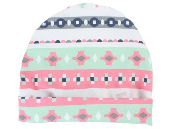 Pink and Mint Tribal Baby Beanie Hat Mint Baby Leggings Baby Newborn Beanie Toddler Beanie Slouch Beanie Baby Gift Girl Tribal Aztec Baby